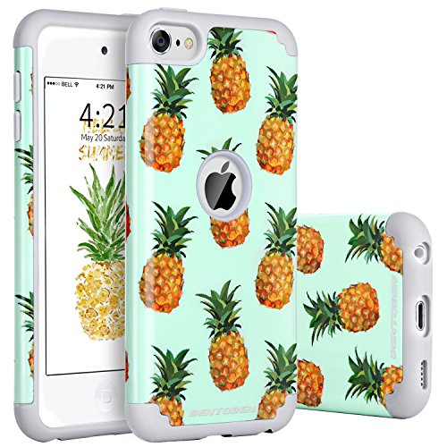 (iPod 6 Case, iPod 5 Cases, BENTOBEN Super Slim Cute Pineapple Design Hard PC Cover Soft Rubber Shell Hybrid Glossy Anti-Scratch Shock Proof Protective Cases for iPod Touch 5 6th Generation, Green/Gray)