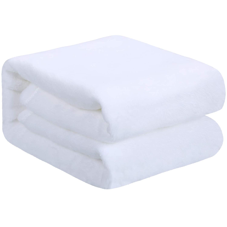 Blank Baby Receiving Blanket Fuzzy White Sublimation Blanket Soft Warm Receiving Baby Blanket Infant Newborn Blanket for Crib Stroller Travel DIY Backdrop, 30 x 40 Inch