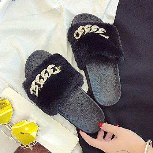 Ouneed® Damen Sandalen , Damen Slip On Sliders Flauschige Faux Pelz Flache Slipper Flip Flop Sandale Schwarz