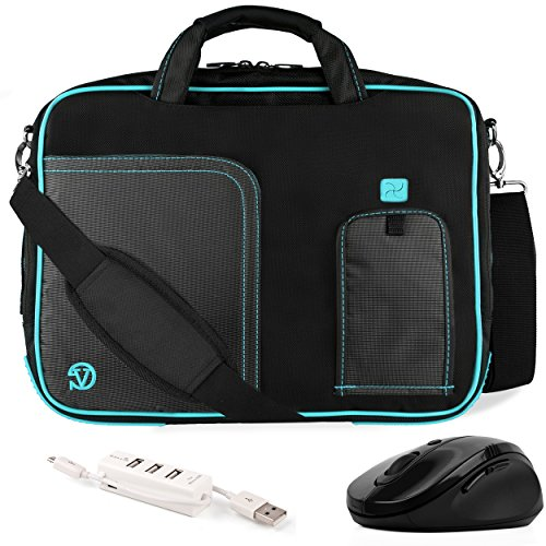 VanGoddy Pindar Aqua Blue Trim Messenger Bag w/ USB HUB and