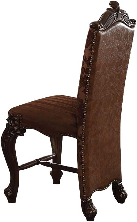 ACME Furniture 61157 Versailles Counter Height Chair, Set of 2, 2-Tone Brown PU/Fabric