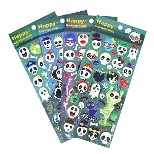 HighMount Halloweens Skull Stickers 4 Sheets with Pirates,