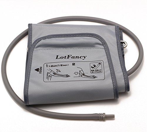 (LotFancy D-Ring Cuff Replacement H-003D H-CR24 for Omron Upper Arm Blood Pressure Monitor BP710 BP742 HEM-432C HEM-711AC HEM-712C HEM-712CLC ELITE7300W, Large 9-17 Inches)