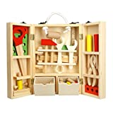 Kid's Tool Sets Toys Wooden Construction Education Toy Learning Building Carpentry Role Play Kit Game Detachable Assembling DIY Multifunctional Carry Case Box 35 Pcs 4 Age up