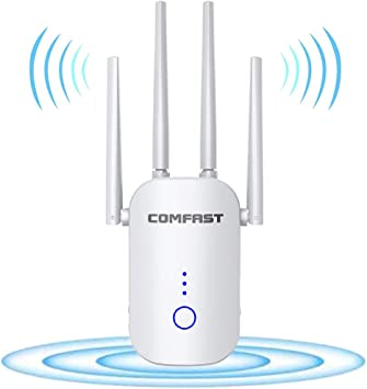 Wide Range of Signals WiFi Range Extender for The Houes Enjoy Gaming Movies SuperBooster Booster Repeater 1200Mbps 2500FT WiFi 2.4 /& 5GHz Dual Band WPS Wireless Signal Strong Penetrability