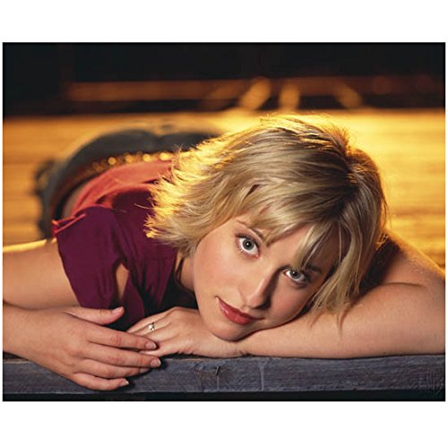 Allison Mack 8x10 photo Smallville Riese Wilfred laying on floor smiling