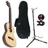 Kala KA-SSTU-TE Mahogany Travel Tenor Acoustic-Electric Ukulele with UB-T Tenor Ukulele Gig Bag, Ultra 2445BK Basic Guitar Stand and Snark SN6X Clip-On Tuner