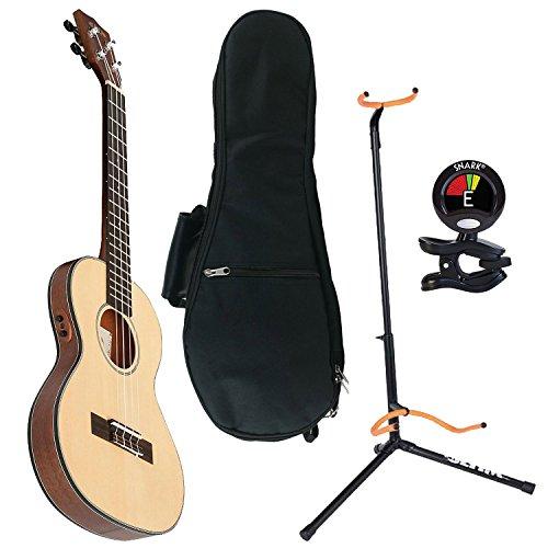 Kala KA-SSTU-TE Mahogany Travel Tenor Acoustic-Electric Ukulele with UB-T Tenor Ukulele Gig Bag, Ultra 2445BK Basic Guitar Stand and Snark SN6X Clip-On Tuner by Kala