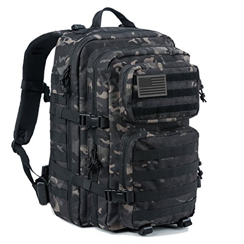 REEBOW GEAR Military Tactical Backpack Large Army 3 Day Assault Pack Molle Bug Bag Backpack Outdoor Hunting Hiking Camping Trekking School Rucksacks Black Camo