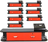 8x LCL Beauty Red Locking Wall Mount Styling Station with Black Metal Tabletop Appliance Holder & 4 Port Power Strip