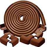 Bixon Corner Edge Guard - 15 ft Edge + 8 Corner Cushion Guards with Double-Sided Tape; Keeping Toddlers Safe from Table Corner Injuries through Secure Adhesion Proofing (Coffee Brown)