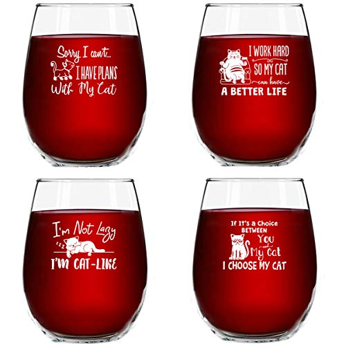 (Funny Cats) – Funny Cat Stemless Wine Glasses Set of 4 Hilarious Cat Gift Idea for Women, Pet Owners and Wine Lovers…