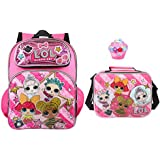 """LOL Surprise 16"""" Deluxe 3D Backpack & Matching Insulated Lunch Box PLUS Erasers"""