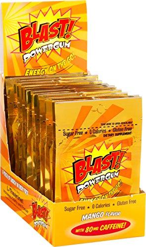 Blast Power Gum Mango Flavor with 80mg Caffeine, 6 Pieces per Pouch (Box of (Power Gum)