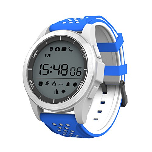 ZRSJ Outdoor Sport Smart Watch, Waterproof IP68 Bluetooth Smart Watches Fitness Tracker Pedometer Sleep Monitor Calorie Stopwatches Android iOS Smartphones Gift Boy Girl (Blue-White) by ZRSJ