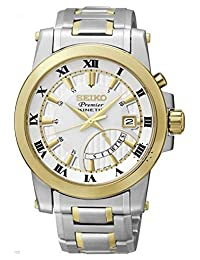 Seiko Premier Kinetic Silver Dial Stainless Steel Mens Watch SRN040P1