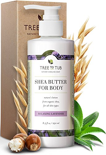 Organic Shea Butter Body Lotion for Dry Skin. The Only pH 5.5 Balanced Lavender Lotion for Sensitive Skin - Light, Quick Absorbing Shea and Cocoa Butter Lotion with Wild Soapberries, -