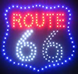 Decorative Novelty LED Signs for Wall Decor, Man Cave, Wet Bar Accessories (19' L x 19' W x 1' H, Route 66)