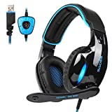 GW SADES SA902 7.1 Channel Virtual USB Surround Stereo Wired PC Gaming Headset Over Ear Headphones with Mic Revolution Volume Control Noise Reducing LED Light(Black/Blue)
