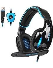 Sades SA902PC Gaming Headset 7.1Virtual Surround stereo Wired Up USB Computer Gaming Headset cuffie con controllo volume e microfono per computer (nero & blu)