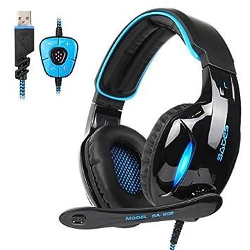 Auriculares Gaming de diadema , SADES 902 7.1 Sonido envolvente estéreo Cascos gaming USB con micrófono