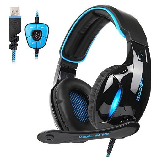 SADES Newest SA902 7.1 Channel Virtual Surround Sound USB Gaming Headset Over-ear Headphones with Noise Isolating Mic LED Light for PC Mac Computer Gamers(Black Blue) (Usb 2000 Headset)
