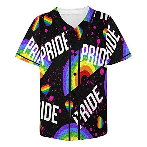 INTERESTPRINT Men's Colorful Rainbow Baseball Jersey Button Down Short Sleeve Shirt XL