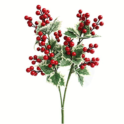 Htmeing 2pcs Artificial Holly Bushes Spray Berries Christmas Flowers Leaves Home Party Decoration (Big Berry) (Bush With Purple Flowers And Yellow Berries)