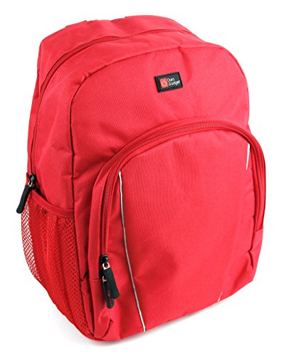 (DURAGADGET Water-Resistant Bright Red Compact Backpack with Rain Cover for Celestron Echelon 10X70| Echelon 16X70| Echelon)