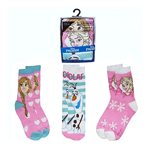 Disney Frozen 3 PK Socks 6-8 Size 100% Polyester Clothing