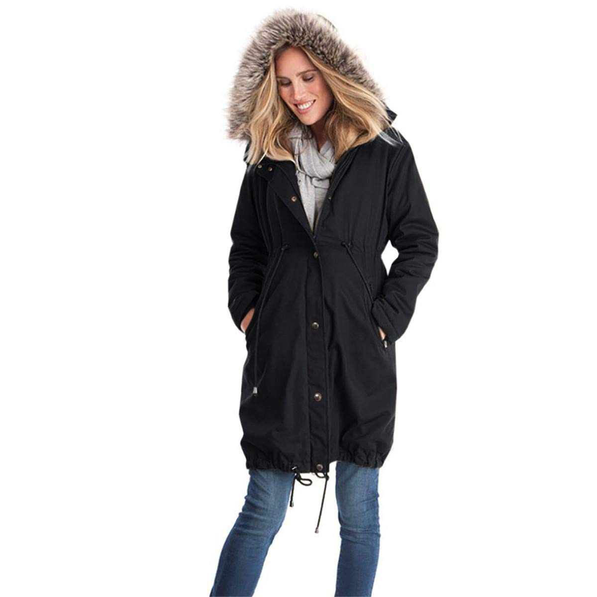 CT COUTUDI Women's Fur Hooded Maternity Coat Baby Wearing Carrier Casual Outwear COU-CE3798