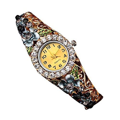 Creazy Women Quartz Luxury Crystal Flower Bracelet Watch (Diamond Round Flower Bracelet)