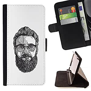 BullDog Case - FOR/Apple Iphone 6 PLUS 5.5 / - / GLASSES ART PAINTING BEARD HIPSTER /- Monedero de cuero de la PU Llevar cubierta de la caja con el ID Credit Card Slots Flip funda de cuer
