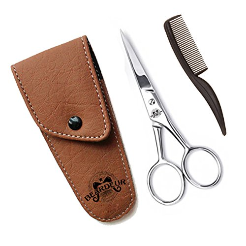 Beard Trimming Scissors & Comb-Professional Moustache Trimming Kit-Faux Leather Case Included-Heavy-Duty Shears With Ergonomic Grip & Openings-Great Gift Idea For Every Man