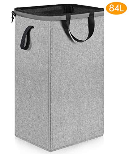 Large Dorm Laundry Hamper with Removable Liner (84L), Sturdy Tall Laundry Hamper with Handles, Collapsible Canvas Dirty Clothes Hamper, Square Laundry Hamper for Bedroom, Bathroom, Nursery (Grey) (Collapsible Hampers)