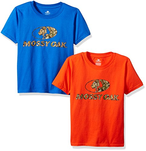 - Mossy Oak Boys Short Sleeve Graphic T-Shirts (2 Pack), Large, Orange/Royal