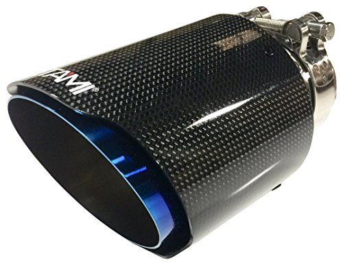 Blue Carbon Fiber and Stainless Steel Exhaust Tip, 1 Pack - NETAMI NT-2552