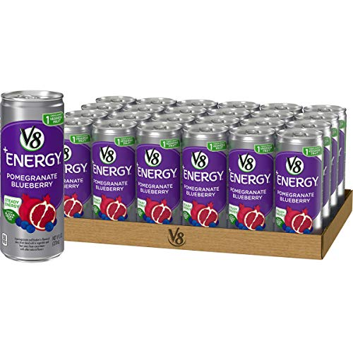 V8 +Energy, Healthy Energy Drink, Natural Energy from Tea, Pomegranate Blueberry, 8 Ounce Can (Pack of 24) (Best Way To Pomegranate)