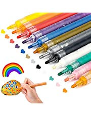 Acrylic Paint Marker Pens,Paint Pens for Rocks Painting,Wood,Fabric,Plastic,Canvas,Glass,Porcelain Mugs,DIY Craft,Card Making,Art School Supplies.Water Based Acrylic Paint Markers Set