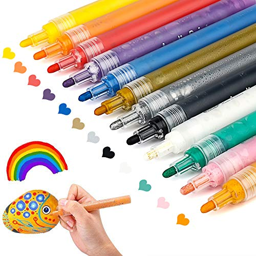 Acrylic Paint Pens for Rocks Painting, Ceramic, Glass, Wood, Fabric, Canvas, Mugs, DIY Craft Making Supplies, Scrapbooking Craft, Card Making. Acrylic Paint Marker Pens Permanent. 12 Colors/Set