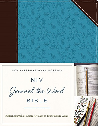NIV, Journal the Word Bible, Leathersoft, Brown/Blue: Reflect, Journal, or Create Art Next to Your Favorite Verses