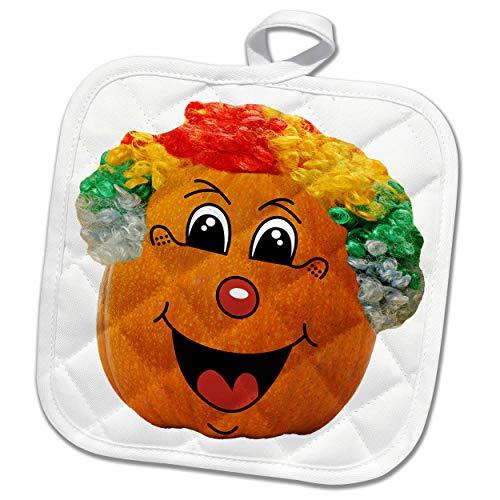 3dRose Sandy Mertens Halloween Food Designs - Jack o Lantern Funny Clown Face Halloween Pumpkin, 3drsmm - 8x8 Potholder (phl_290217_1) -
