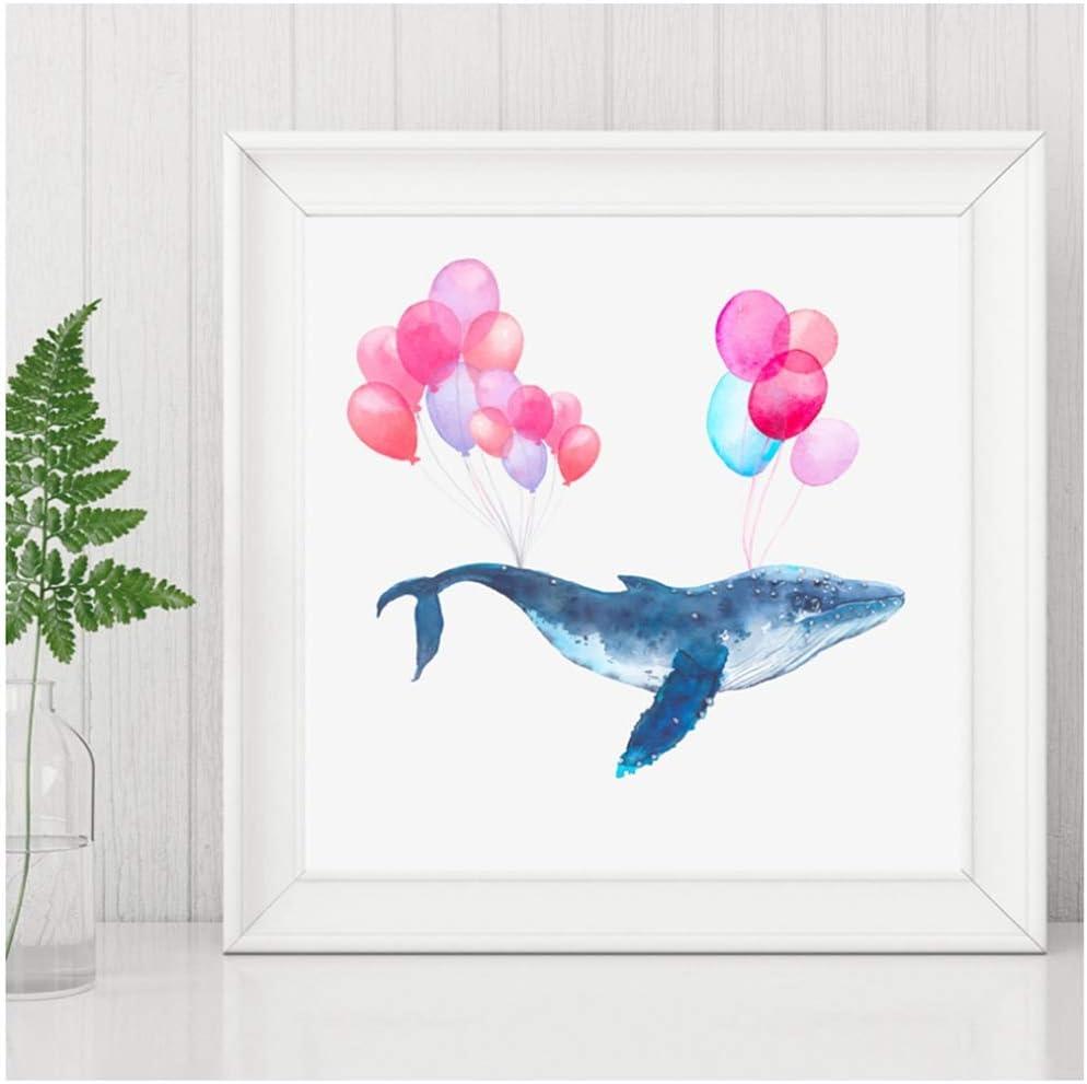 WSTDSM Aquarell Blauwal fliegen auf Luftballons Leinwand Wandkunst Bilder Kinderzimmer Dekor Cartoon handbemalte Wal Babyzimmer 60x80cm ohne Rahmen