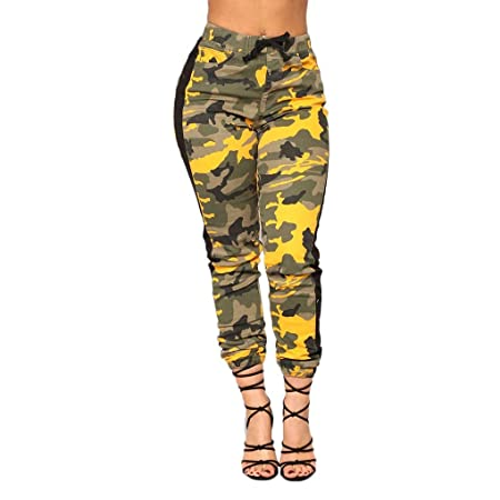 02497fcc0c3f Lorjoy Pantalones de Cintura Alta elástico de Las Mujeres Delgadas de  Camuflaje con cordón de impresión Noveno Pantalones: Amazon.es: Deportes y  aire libre