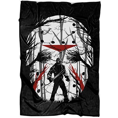 ARLSTORE Jason Horror Nights Soft Fleece Throw Blanket, Jason Voorhees Movie Fleece Luxury Blanket (Large Blanket (80