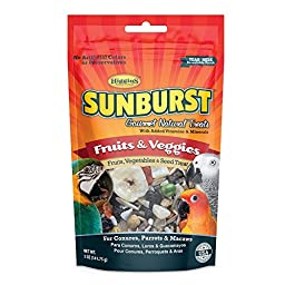 Higgins Sunburst Fruits & Veggies Gourmet Treats for Conures, Parrots & Macaws
