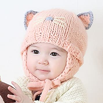 fa6cf20ea86 PyLios(TM) New Knit Baby Bonnet with Ears Cartoon Handmade Winter Infant  Baby Hats