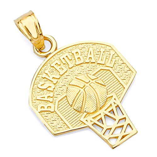 - GoldenMine Fine Jewelry Collection 14k Yellow Gold Basketball Pendant