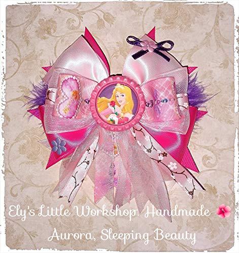 Sleeping Beauty, Aurora, Hair Bow, Disney inspired AURORA Character, 100% Handmade, Girls, Pink and Purple, 5