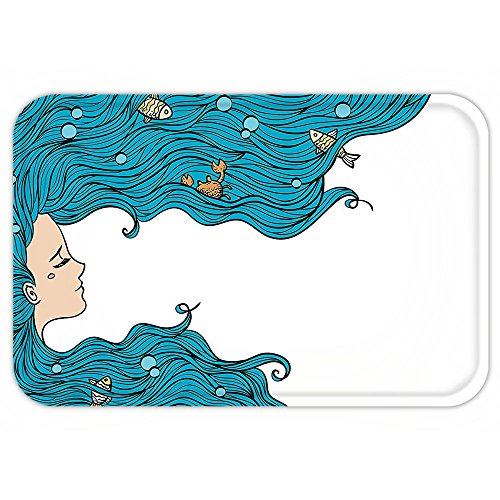 Cute And Easy Hairstyles For Halloween (Kisscase Custom Door MatMermaid Decor Girl with Big Hair Hairstyle Fly Away Fairytale Sleeping Crab Imaginary Artwork)